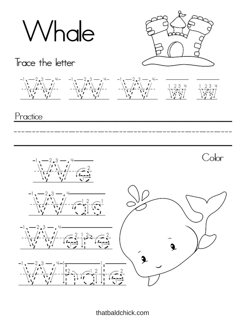 Alphabet Writing Practice Letter W at thatbaldchick