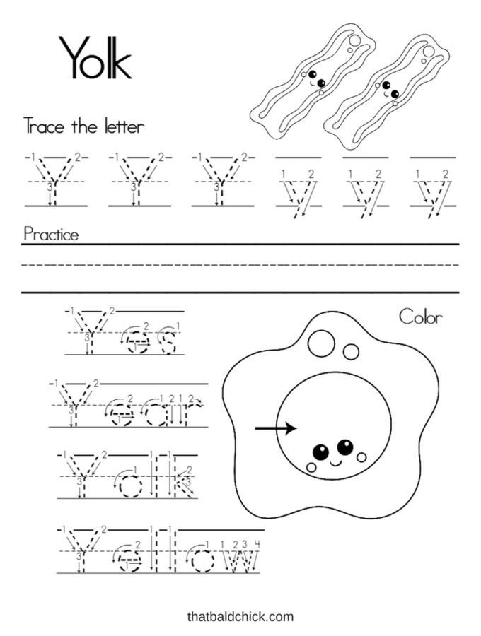 Get this #free Letter Y #Alphabet Writing Practice #printable at thatbaldchick.com. #abc #lotw #preschool #homeschool #homeschooling