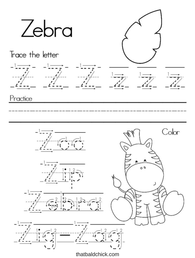 Get this #free Letter Z #Alphabet Writing Practice #printable at thatbaldchick.com. #abc #lotw #preschool #homeschool #homeschooling