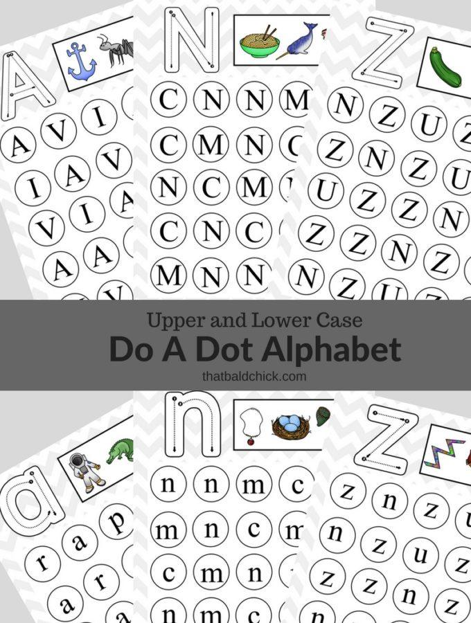 Uppercase and Lowercase Do A Dot Alphabet Printables at thatbaldchick.com
