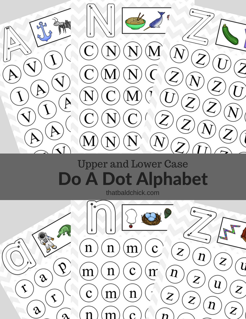 Follow along as I share the uppercase and lowercase Do A Dot Alphabet printables we'll be using in our homeschool preschool at thatbaldchick.com