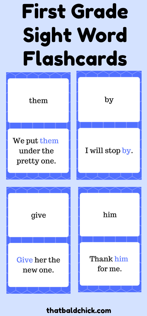 First Grade Sight Word Flashcards at thatbaldchick