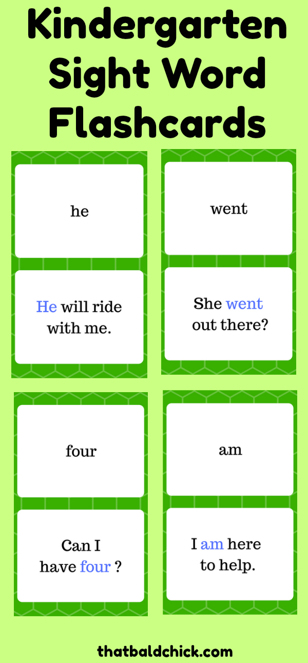 Kindergarten Sight Word Flashcards at thatbaldchick.com