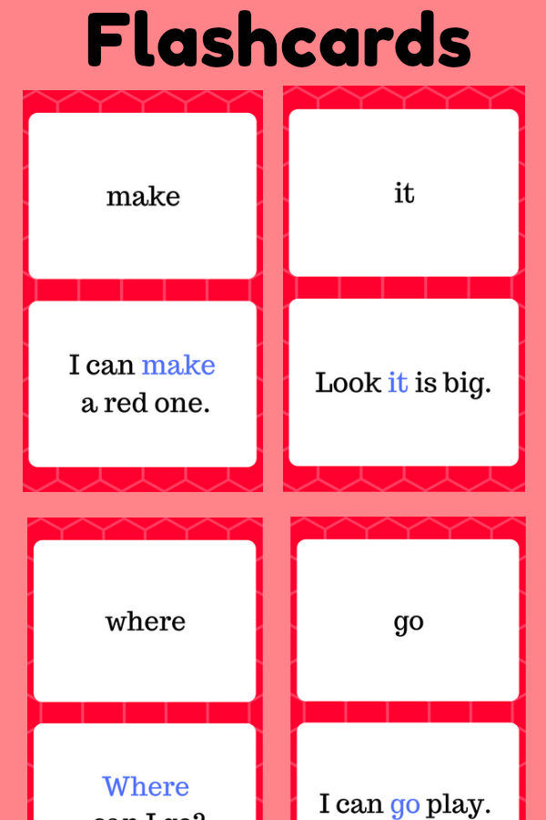 Pre-K Sight Word Flashcards at thatbaldchick.com