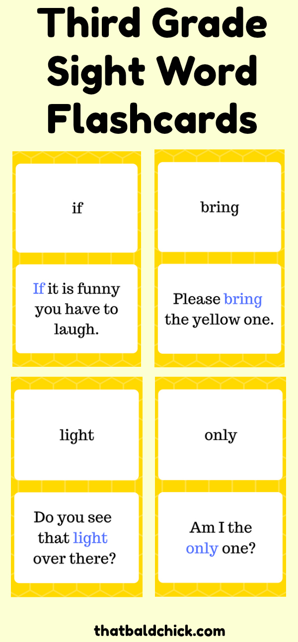 third grade sight words flashcards that bald chick