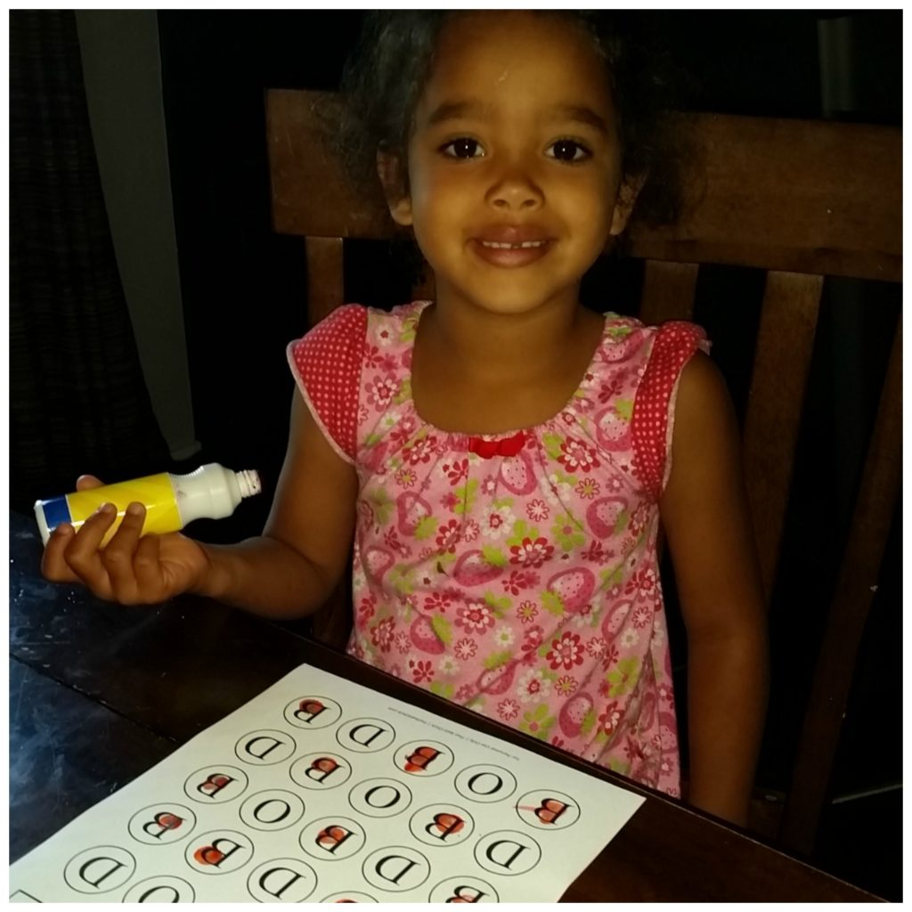 Use a bingo dobber with the do a dot printables from thatbaldchick.com
