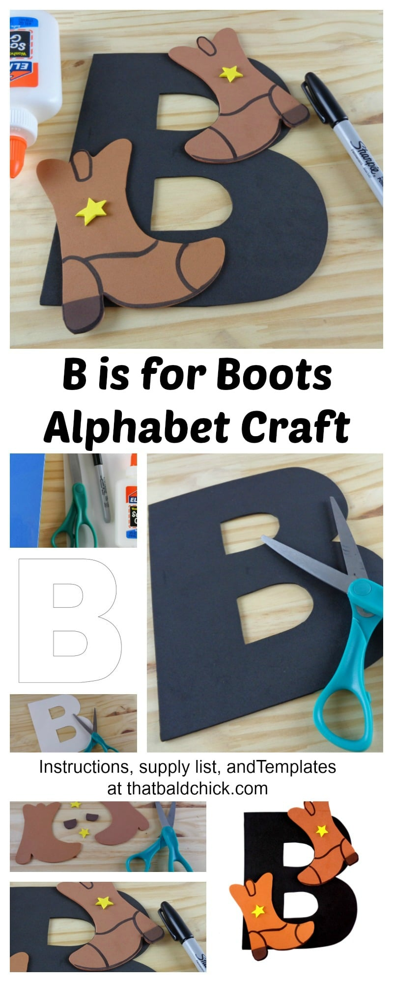 Get the instructions, supply list, and templates for this B is for Boots Alphabet Craft at thatbaldchick.com
