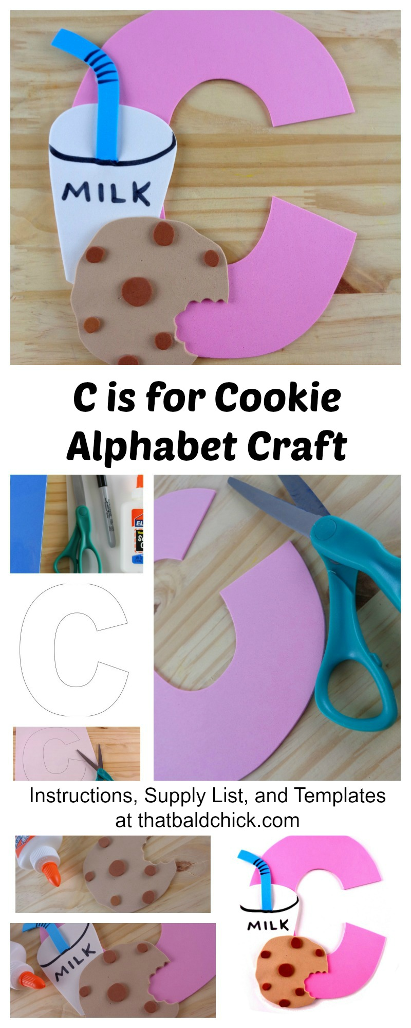 C is for Cookie Alphabet Craft. Instructions, Supply List, and Templates at thatbaldchick.com