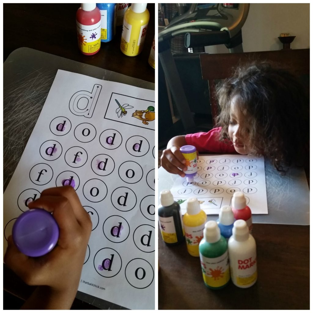 lowercase do a dot letter d practice
