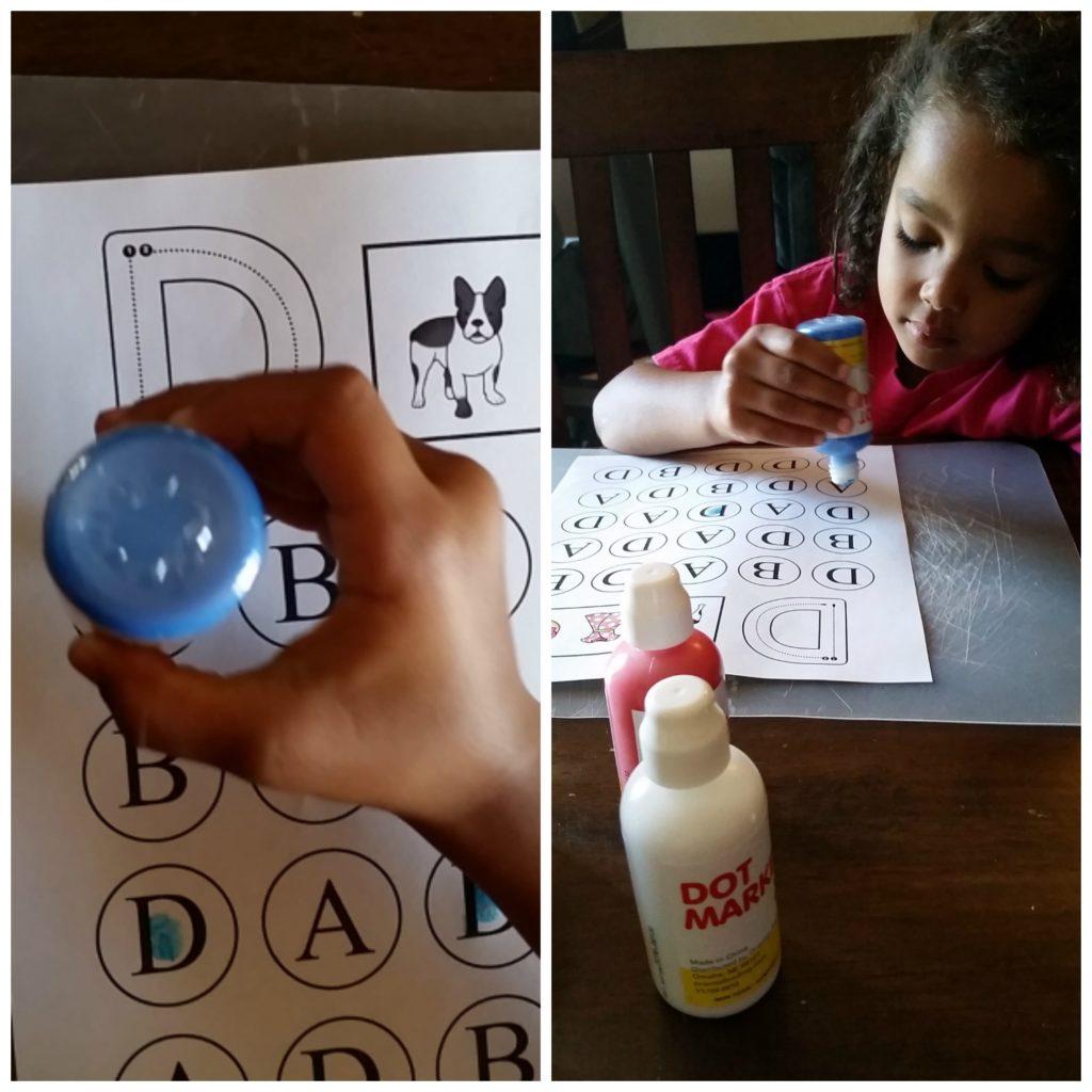uppercase do a dot letter d practice