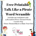 Talk Like a Pirate Word Scramble