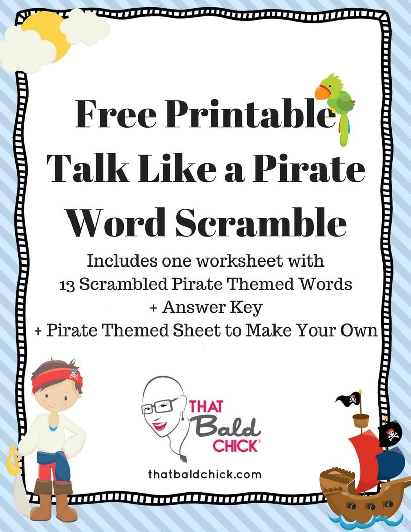 Free Printable Talk Like a Pirate Word Scramble at thatbaldchick