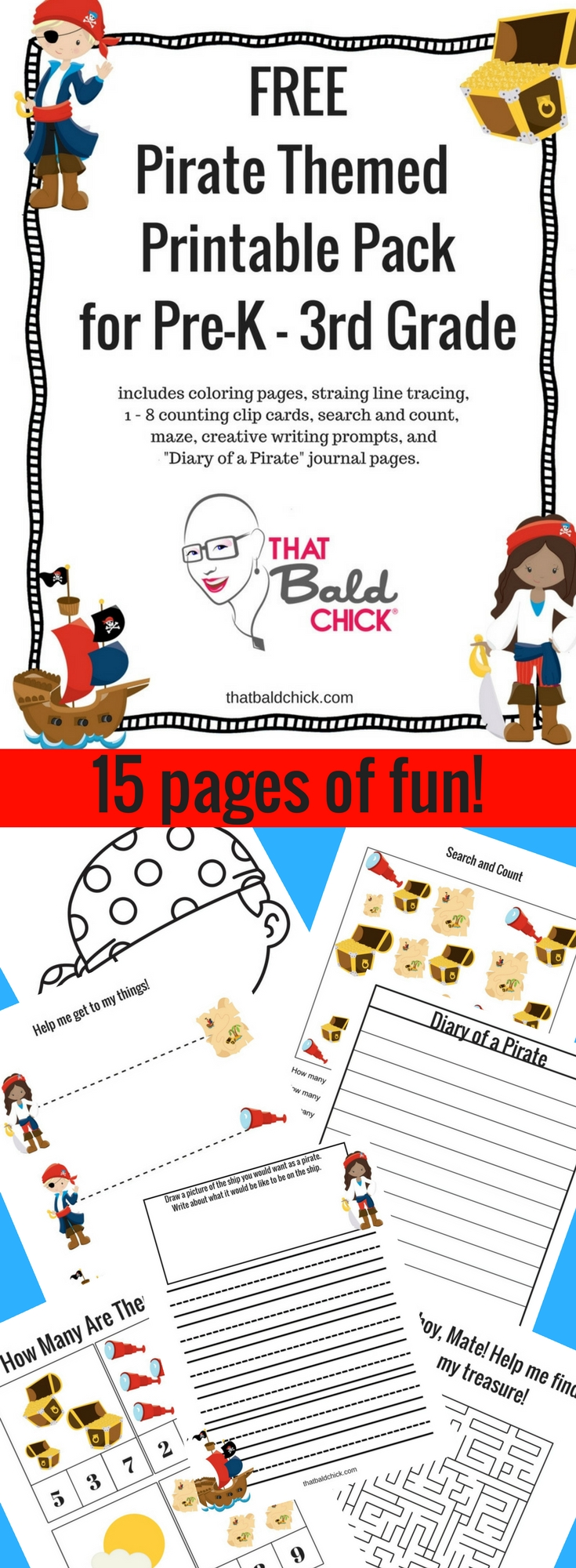 15 pages of fun pirate themed pages at thatbaldchick.com