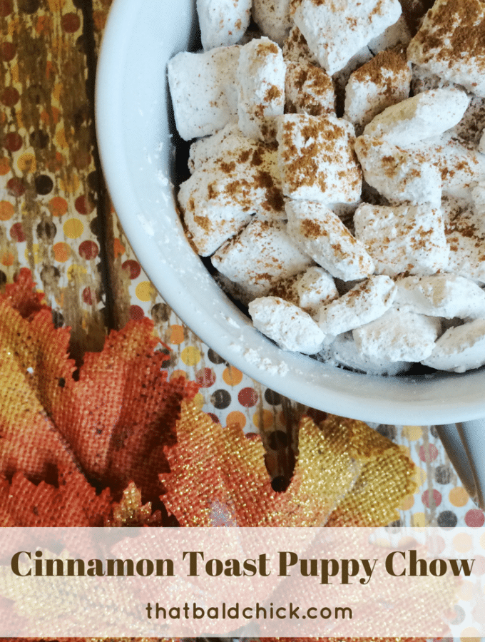 Cinnamon Toast Puppy Chow at thatbaldchick.com