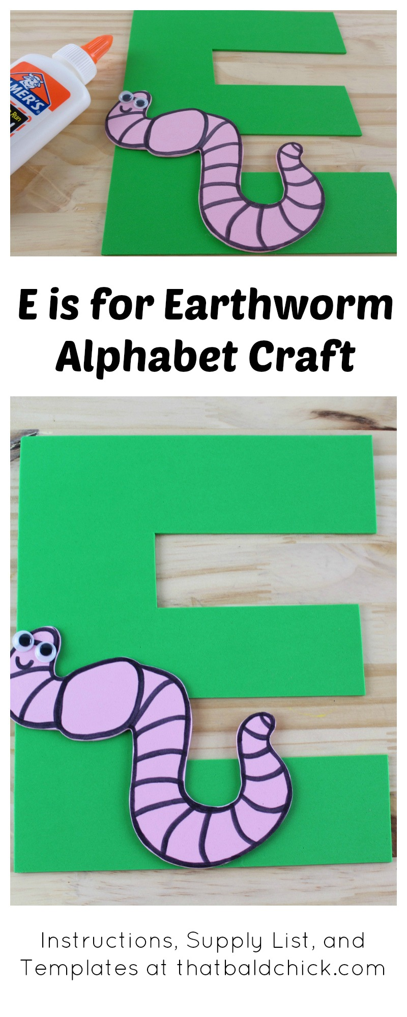 E is for Earthworm Alphabet Craft - instructions, supply list, and templates at thatbaldchick.com