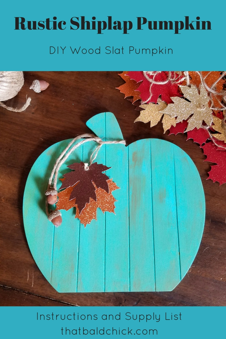 Celebrate the season with this Rustic Shiplap Pumpkin. This DIY Wood Slat Pumpkin Door Hanger is perfect for Fall. Teal Pumpkins alert visitors that your home is allergy safe this season.