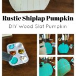 Display this teal rustic shiplap pumpkin on your door to alert visitors that your home is allergy safe this season. Supply list and instructions at thatbaldchick.com
