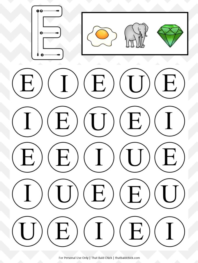 Uppercase Do A Dot Letter E printable at thatbaldchick.com