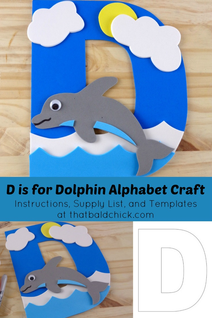 d is for dolphin alphabet craft instructions supply list and templates at thatbaldchick