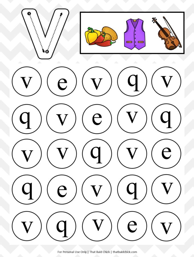 Get this #free Lowercase Do A Dot Letter V #printable at thatbaldchick.com. #abc #lotw #preschool #homeschool #homeschooling