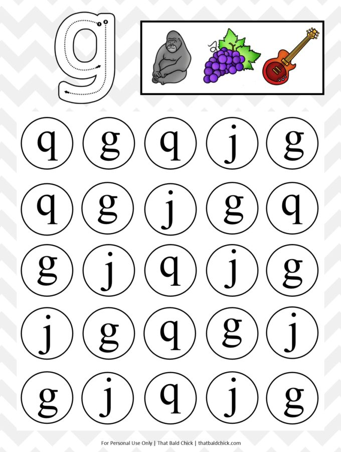 Get this free printable lowercase do a dot letter g worksheet at thatbaldchick.com. Follow along for the entire alphabet!