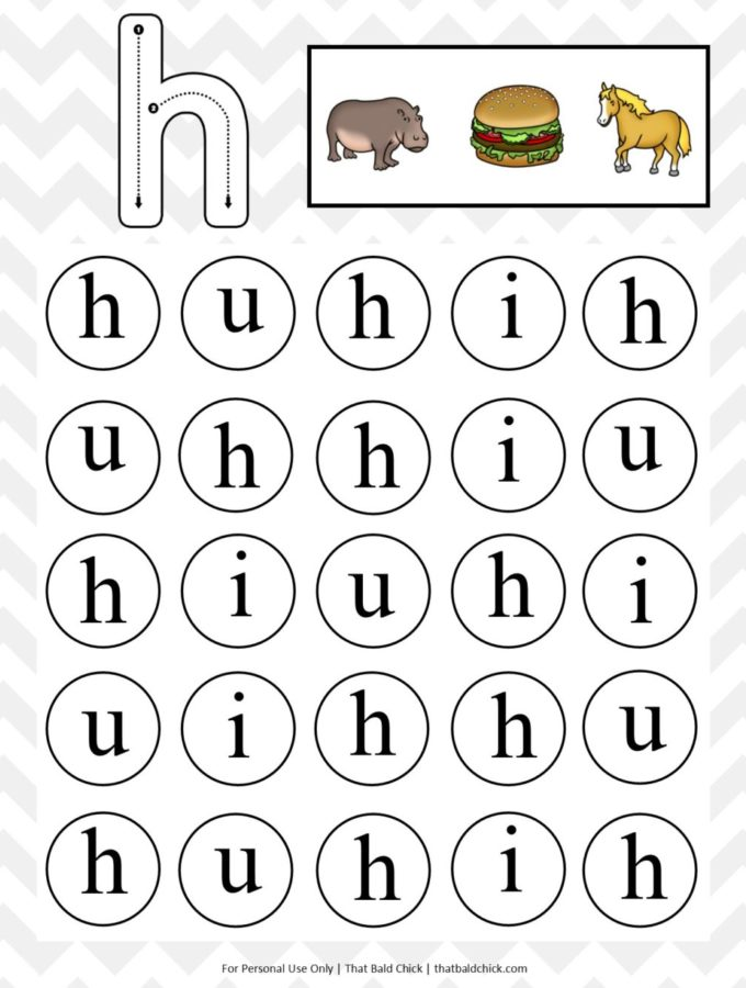 Get this free lowercase do a dot letter h printable at thatbaldchick.com #worksheet