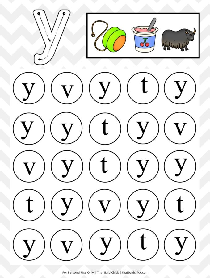 Get this #free lowercase do a dot letter Y #printable at thatbaldchick.com. #homeschool #preschool #abc #lotw #hsmommas #homeschooling