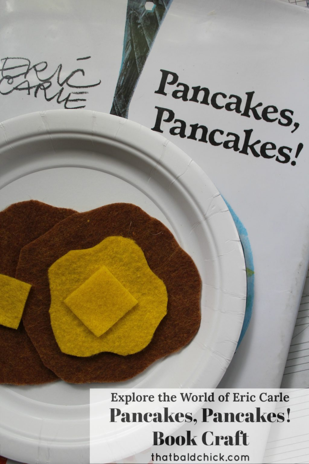 Explore the world of Eric Carle and make this fun Pancakes, Pancakes! Book Craft. Supply list and instructions at thatbaldchick.com