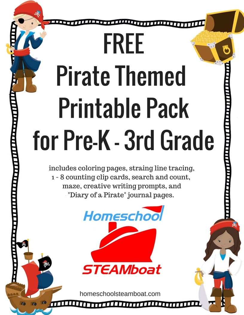 Free Pirate Themed Printable Pack at homeschoolsteamboat.com