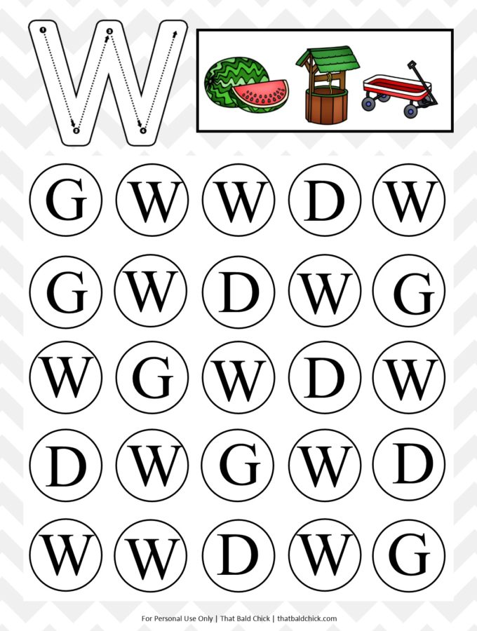 Get this #free Uppercase Do A Dot Letter W #printable at thatbaldchick.com. #homeschool #homeschooling #preschool #teachers #lotw #abc