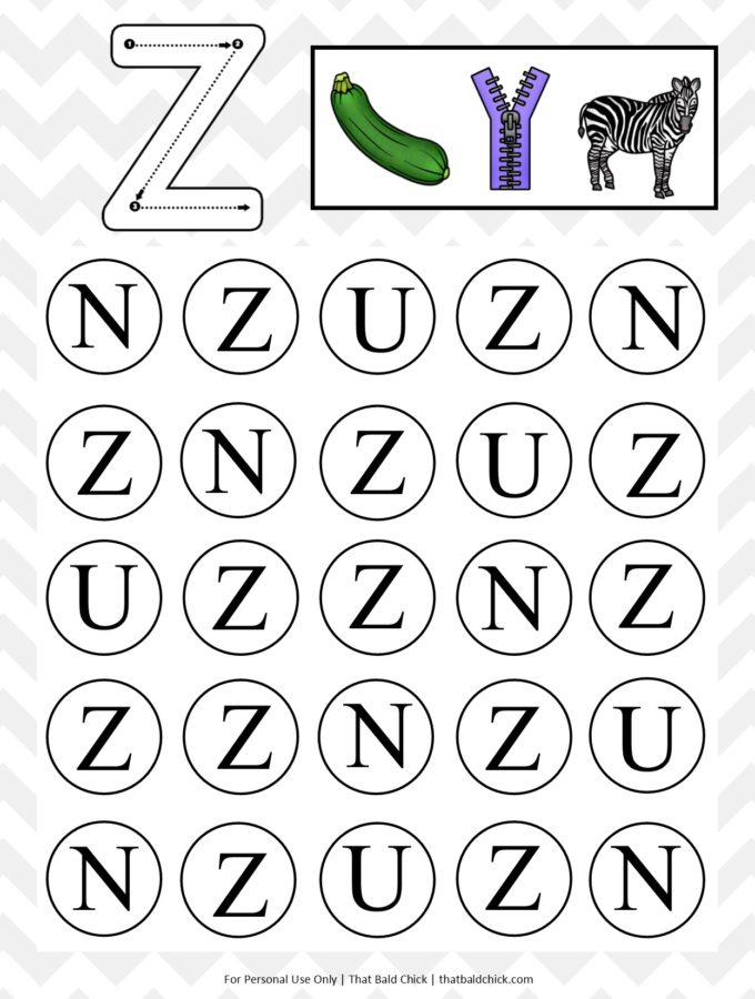 Get this #free Uppercase Do A Dot Letter Z #printable at thatbaldchick.com. #abc #lotw #preschool #homeschool #homeschooling