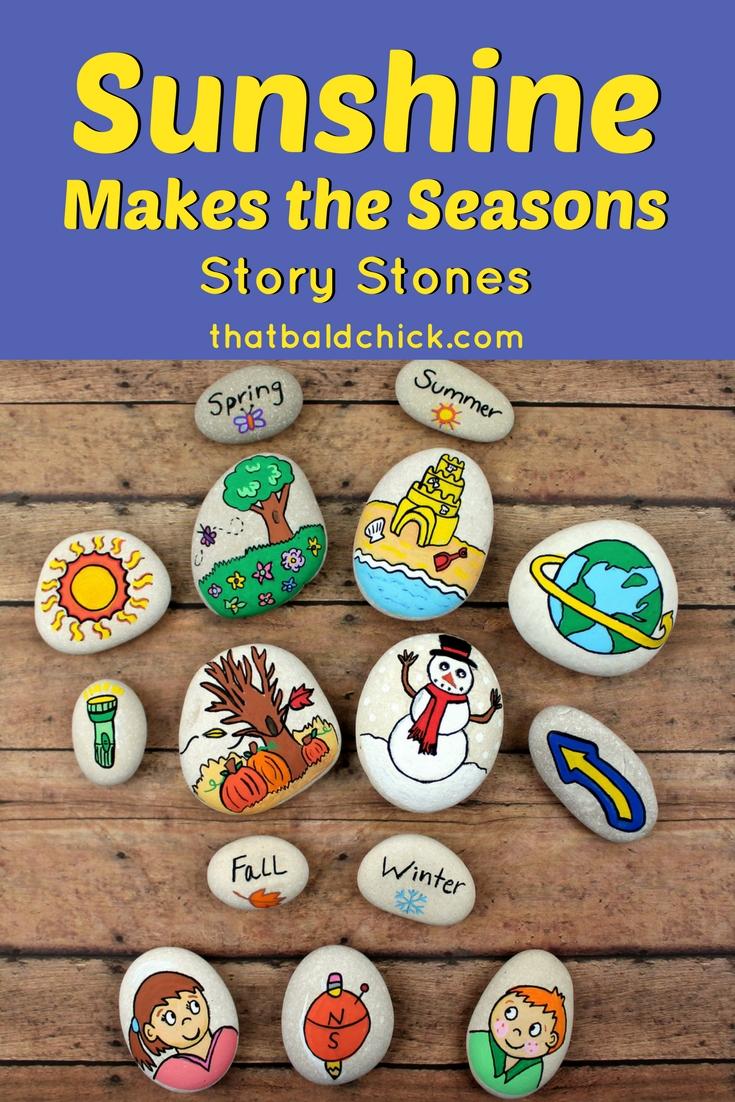 Sunshine Makes the Seasons Story Stone Set at thatbaldchick.com #homeschool #science #hsmommas