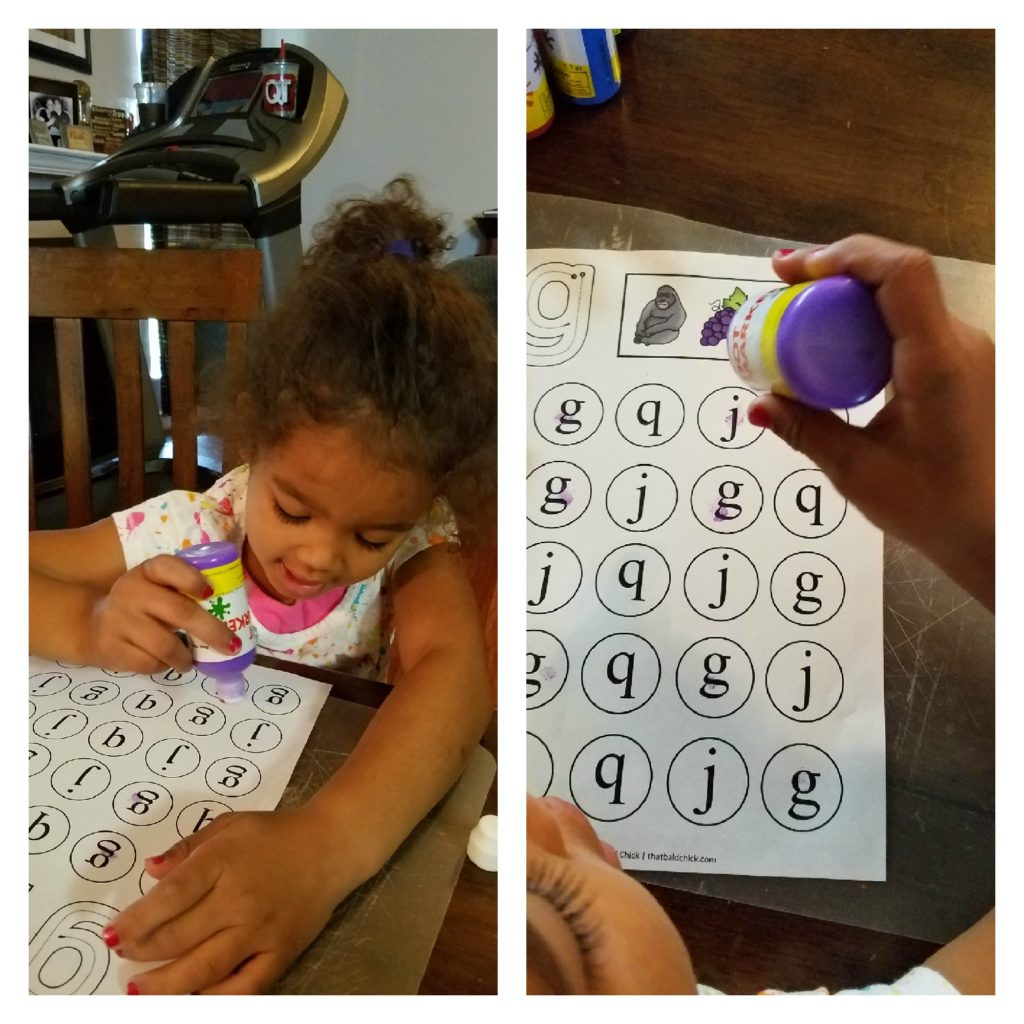 Doing her lowercase g do a dot printable worksheet