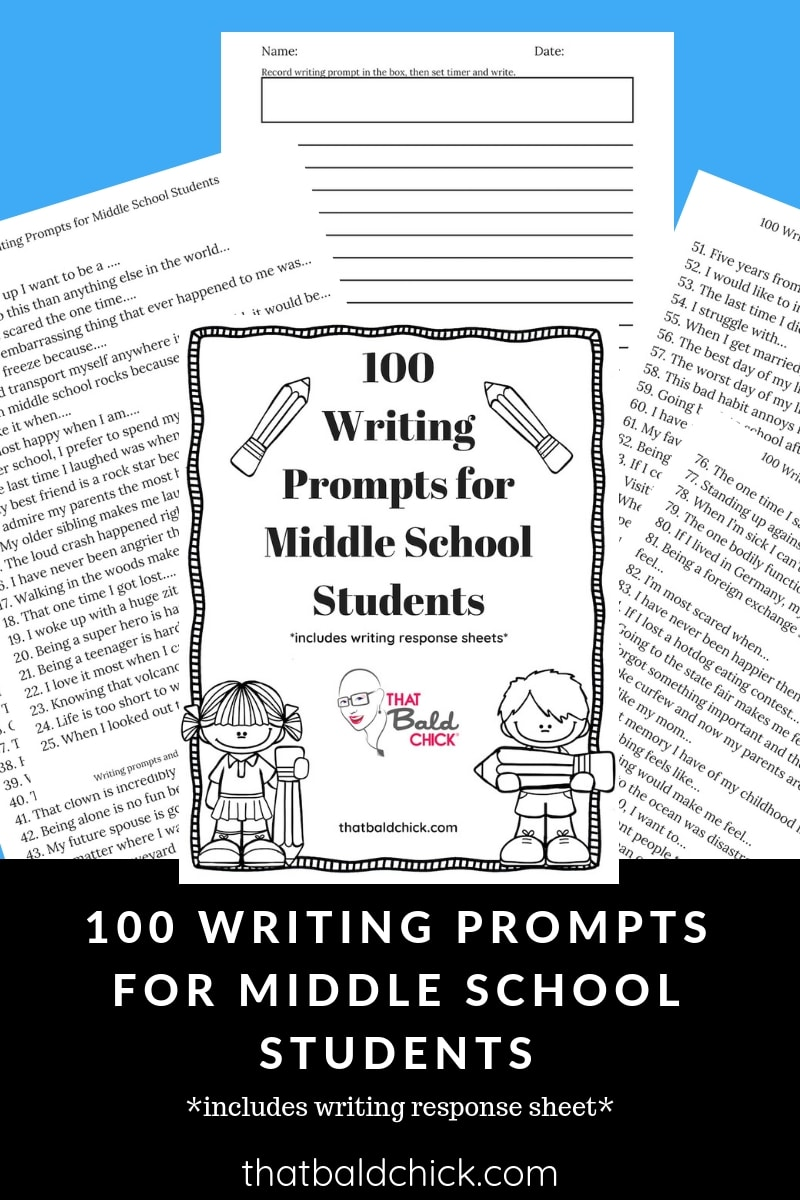 This #free #printable has 100 #writing prompts for #middleschool students and writing response sheets! #homeschooling