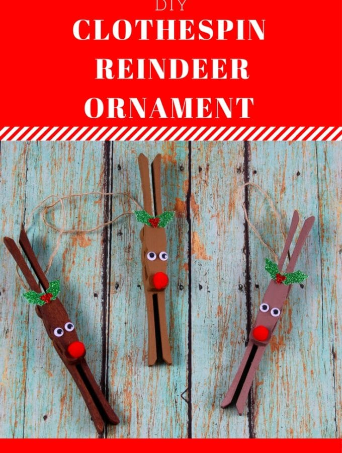 This clothespin #reindeer ornament is a classic #homemade #ornament to make.  It's so festive and fun. Supply list and instructions at thatbaldchick.com #diy #holiday #Christmas