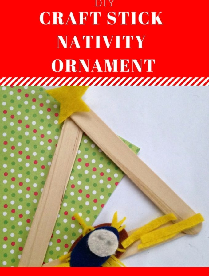 This craft stick nativity ornament is a creative way to celebrate the birth of our Savior. Supply list and instructions at thatbaldchick.com