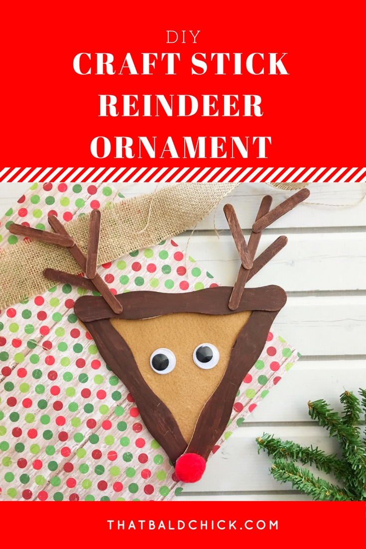 This #DIY Craft Stick #Reindeer #Ornament is super cute and fun for the kids. Supply list and instructions at thatbaldchick.com #homemade #holiday #Christmas