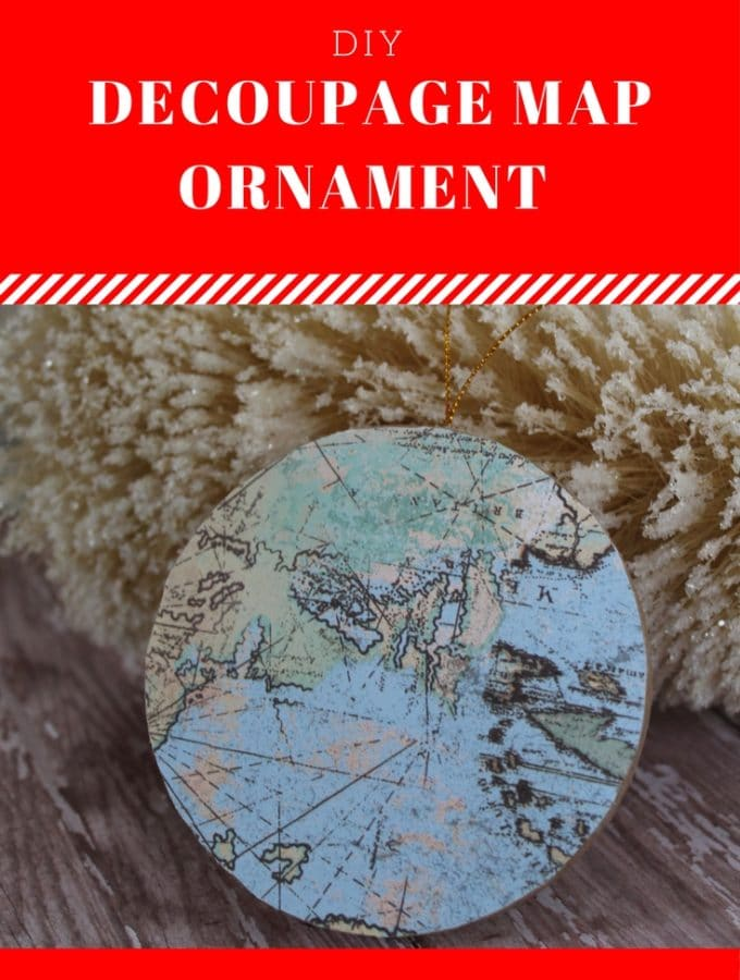 This DIY Decoupage Map Ornament is perfect for anyone who loves to travel or loves maps! Supply list and instructions at thatbaldchick.com