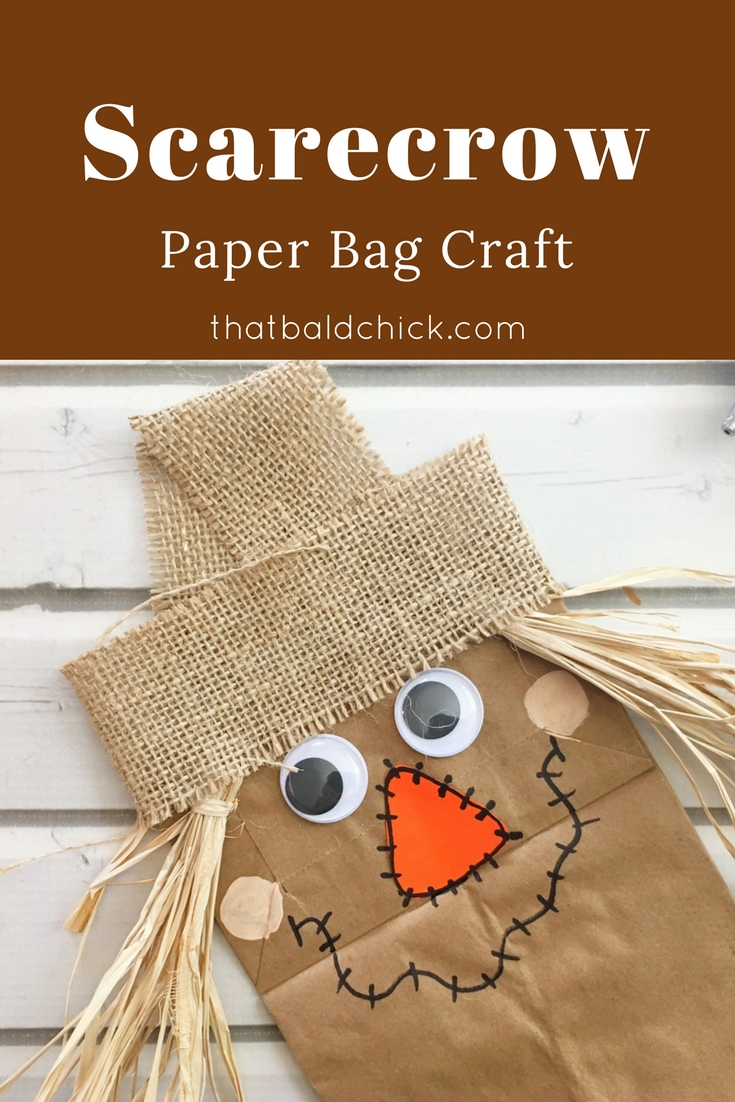 Make this fun #Scarecrow Paper Bag #Craft and use it as a puppet! supply list and directions at thatbaldchick.com #fallcrafts