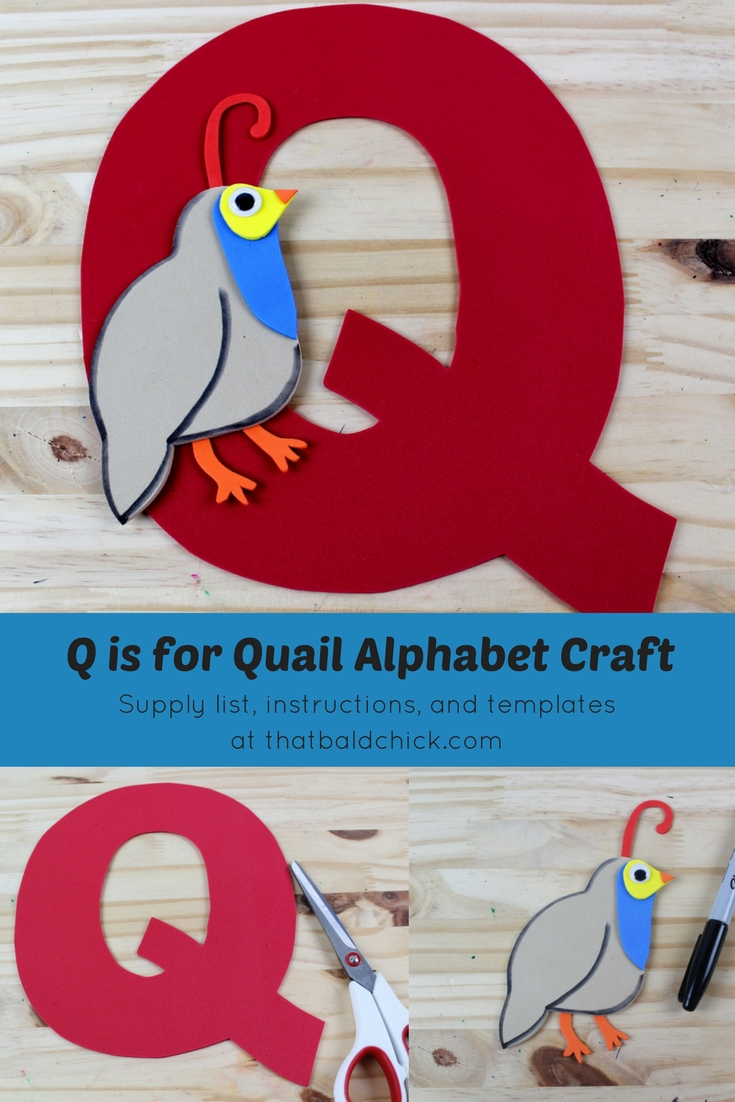 Letter Q Craft - supply list, instructions, and templates at thatbaldchick.com