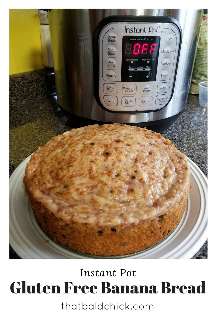 Make this incredibly moist and delicious gluten free banana bread in your Instant Pot! Recipe at thatbaldchick.com