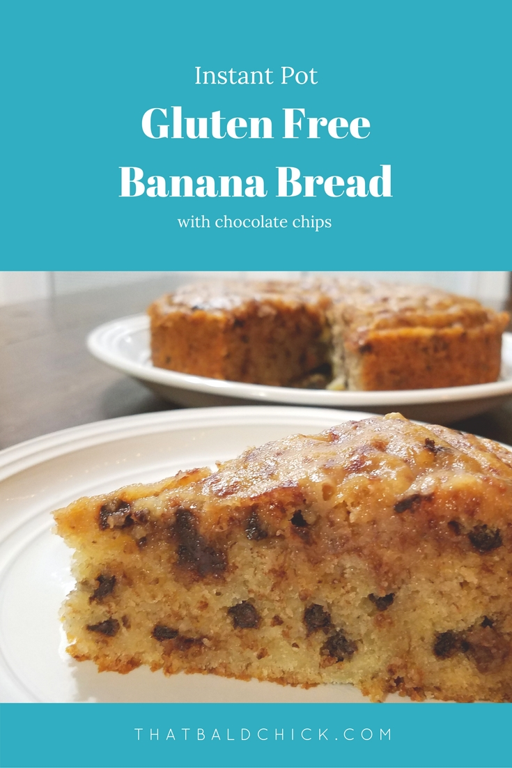 This instant pot gluten free banana bread is so incredibly moist and delicious. Recipe at thatbaldchick.com