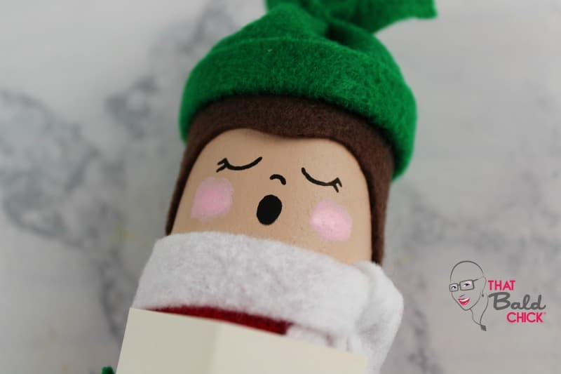 toilet paper roll caroler painted cheeks