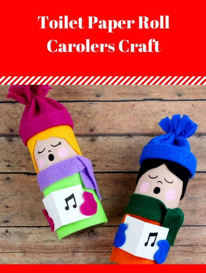 This toilet paper roll carolers craft is adorable and fun to make. Supply list and instructions at thatbaldchick.com