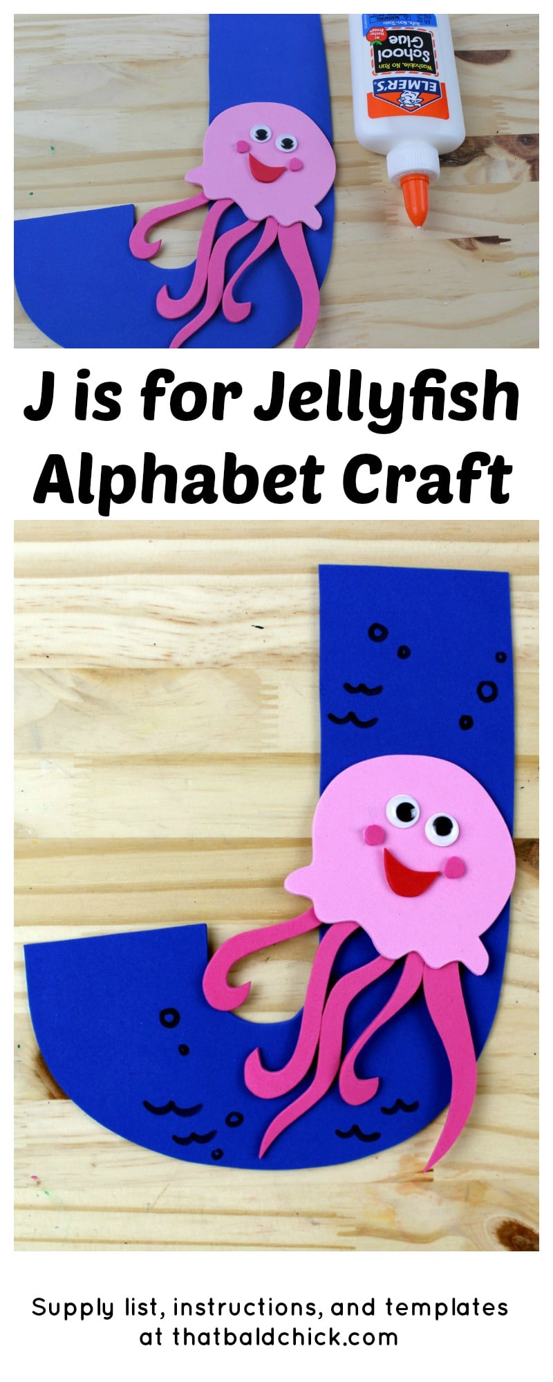 J is for Jellyfish Alphabet Craft - supply list, instructions, and templates at thatbaldchick.com