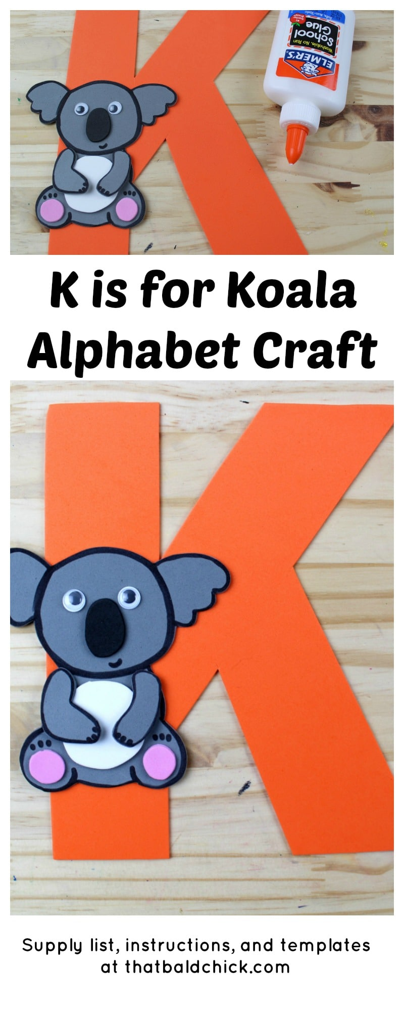 K is for Koala Alphabet Craft - supply list, instructions, and templates at thatbaldchick.com