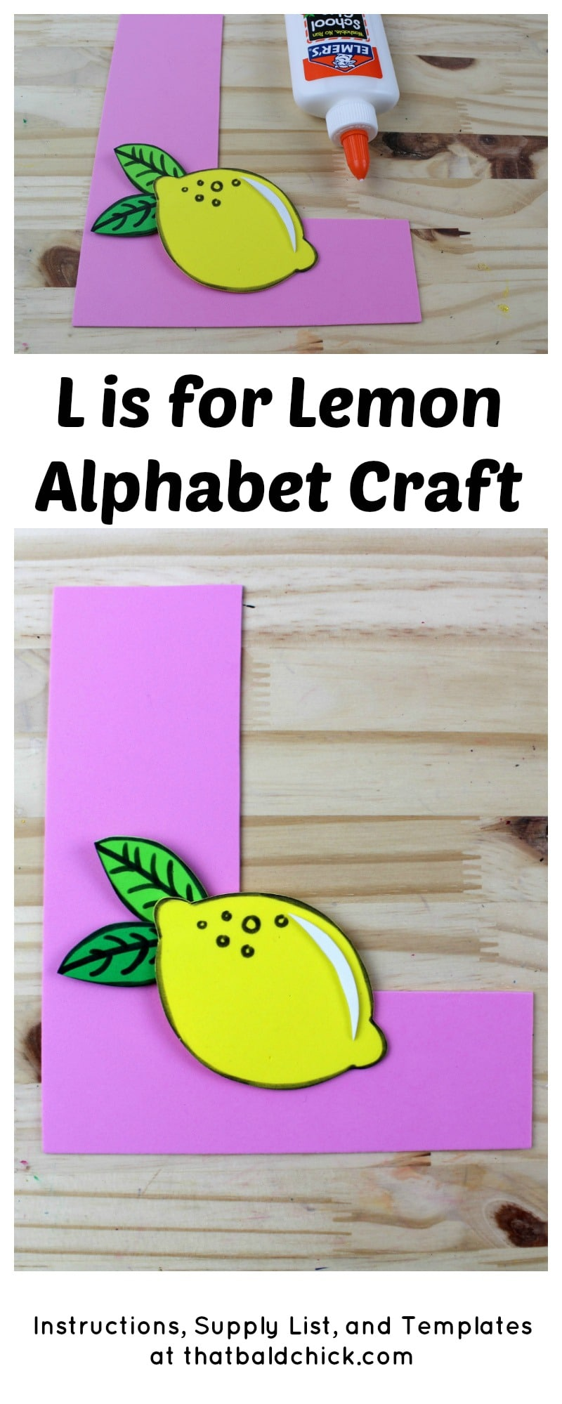 L is for Lemon Alphabet Craft - supply list, instructions, and templates at thatbaldchick.com