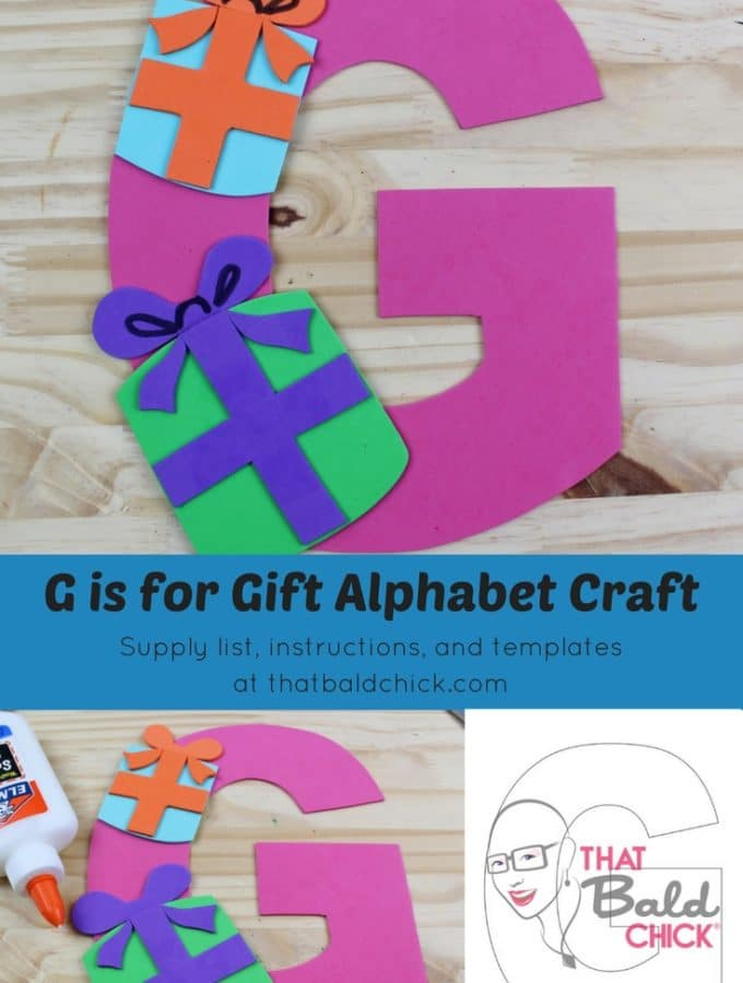 Letter G Craft - supply list, instructions, and templates at thatbaldchick.com