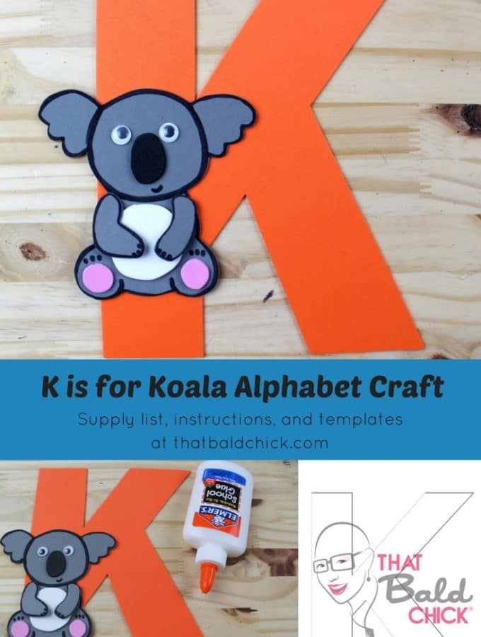 Letter K craft - supply list, instructions, and templates at thatbaldchick.com