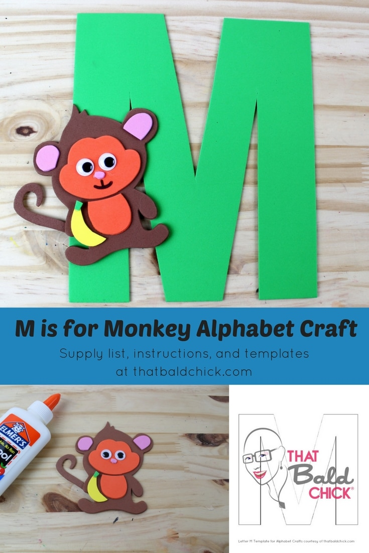 Letter M Craft - supply list, instructions, and templates at thatbaldchick.com